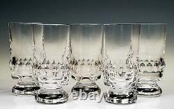 St Louis Crystal Beautiful Tall Cut 5 Tall Glasses Set of 6 SIGNED