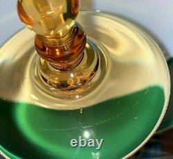 St Louis Crystal Signed Bubbles Amber Wine Hock Goblets Set 5