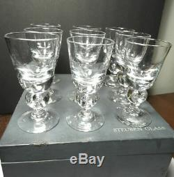 Steuben #7877 Wine Glasses, Bubble Stem, With Box & Storage Bags, Set of 9