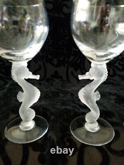 Stunning Bayel Seahorse Frosted Stem Claret Wine Glasses Set Of Four. Excellent