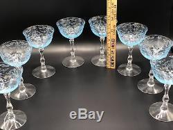 Stunning Fostoria Azure Blue Etched Navarre Water Wine Glasses Goblets Set Of 18