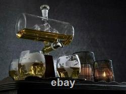 Stylish Whiskey/Wine/Vodka Decanter- Glass Globe Set+4 Glasses&Stand-