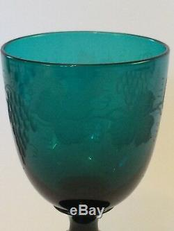 Superb Set Of 5 Green Engraved Wine Glasses. 19th Century