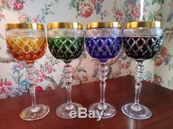 Tharaud Hanau Cased Crystal Wine/Goblet set of 4 four beautiful colors