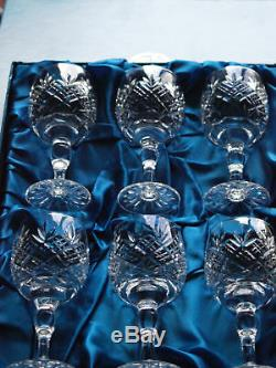 Thomas WEBB Crystal CHILTERN Cut Wine Glass Set of 6, Boxed, Vintage