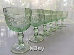 Tiara Indiana Glass Chantilly Green Sandwich Wine Decanter 9 piece Set