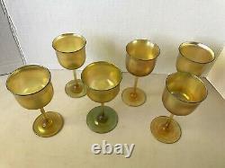 Tiffany favrile wine glasses, set of six, signed
