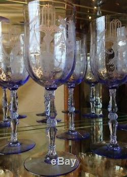 Tiffin Etched Glassware Fontaine Twilight Goblets Wine Glasses RARE Set Of 4