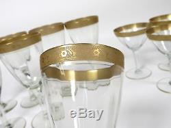 Tiffin Gold Rim Stemware Set of 14 Water Wine Goblets Sherbet Champagne Glasses