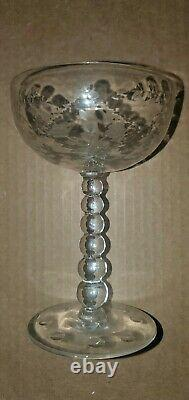 Tiffin franciscan wine/champagne glass Set Of 16 ball stem exquisitely etched