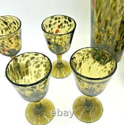 Tortoiseshell Green Glassware Set Pitcher Glasses Wine by Novica Handblown