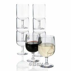 US Acrylic Plastic Stackable Wine Glass 8 Glasses Set Barware Red Drink Bar Cups