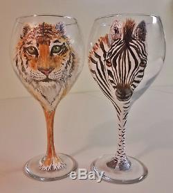 Unique Set 6 Hand Painted Safari Jungle Animal Wine Glasses Elephant Tiger, etc