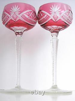 VAL ST LAMBERT CRANBERRY CASED TO CLEAR CUT CRYSTAL WINE GOBLET Set of 2