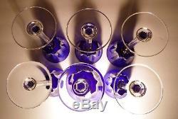 VINTAGE Baccarat BAC-76 Set of 6 Rhine Wines Cobalt Blue 7 7/8 Made FRANCE