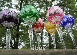 VTG Set 6 Colorful Cut Etched Bohemian/Czech Crystal Wine Goblet Stemware 8.5