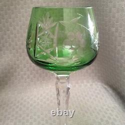VTG Set of 5 Bohemian/Czech Colored Cut to Clear Multicolor CRYSTAL WINE GLASSES