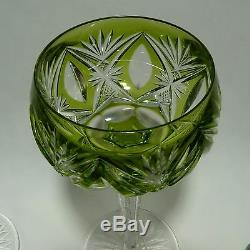 Val St Lambert Crystal Wine Stemware Green Cut to Clear 5 oz Set of 4