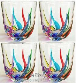 Venetian Carnevale Stemless Wine Glasses / Old Fashioned Glasses Set Of Four