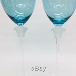 Versace Rosenthal Medusa Lumiere Long Stem Wine Glasses Set of 2 Retired