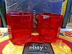 Versace Whiskey Set Of 2 Glasses Medusa Red Vodka Wine Luxury Gift New Box Sale