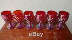Very Rare Red Carnival Hobnail Wine Set made by Fenton for Lois Ratcliff