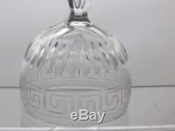 Victorian Greek Key Cut Glass Crystal Wine Glasses Set Of 6- 5 Tall 5 Oz