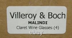 Villeroy Boch MALINDI Claret Wine Glasses SET of FOUR More Avail MINT IN BOX