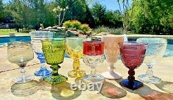 Vintage 8 Mismatched Wine Glasses-Goblets-Water-Retro-Boho-Wedding Set
