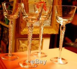 Vintage AIR TWIST STEM Hand Blown Crystal Set of 4 HOCK WINE Glasses Magnificent