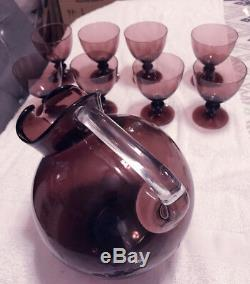 Vintage Amethyst Water Goblets Purple Wine Glasses SET 8 Knob Stem w PITCHER