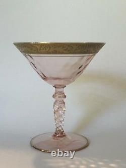 Vintage Art Deco Floral Gold Rim Stem Set 19 PC Gilt Antique Coupe Glasses Wine