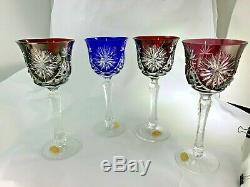 Vintage Bleikristall Set of 8 Multi Color To Clear Tall Wine Goblets Crystal