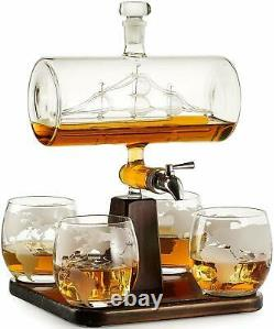 Vintage Boat Crystal Glass Decanter Set Creative Whiskey Wine Bottle With 4 Cups