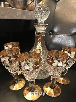 Vintage Bohemia Crystal Wine Set Decanter 5 Glasses Czech Gold Trim Enamel