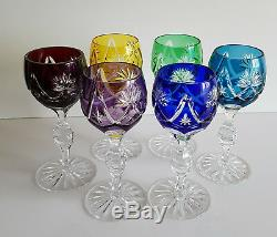 Vintage Bohemian Cased Cut To Clear Crystal Wine Hocks, Set Of 6, Multi-color