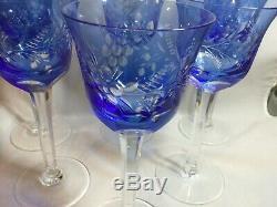 Vintage Bohemian Cut-to-Clear Crystal Cobalt Wine Hock Set 8 1/4