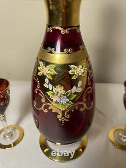 Vintage Bohemian Floral Ruby Red Gold Wine Cordial Decanter & Glasses Set
