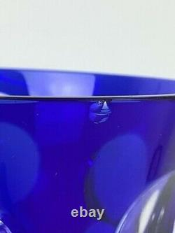 Vintage Christofle Paris Kawali Blue Wine glass Set of 6 in Original Box