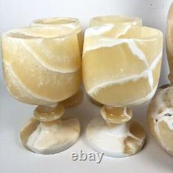 Vintage Classy Onyx Marble Stone Wine Cup Glass Goblet 6 Pc Bar Set Organic