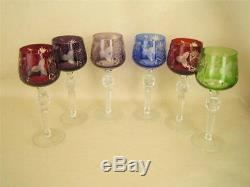 Vintage Continental Set of 6 Cut to Clear Multicolor Crystal 8 3/8 Wine Goblets