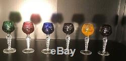 Vintage Crystal Cut To Clear 5-3/8 WINE HOCK GOBLETS MULTI COLOR Set 6 Apertif