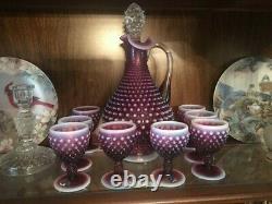 Vintage Fenton Hobnail Art Plum Opalescent Decanter & 8 Wine Glass Complete Set