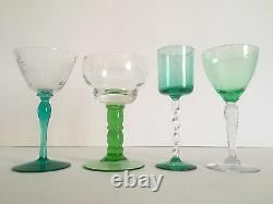 Vintage MID Century European Collected Green Wine Glasses Mixed Set Of 4