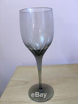 Vintage Orrefors Crystal Prelude Wine Glasses, Handcrafted, Set of 9 (Smoke)