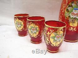 Vintage Ruby Red Glass Wine/Cordial Bar Set Gold Overlay Liqueur Decanter