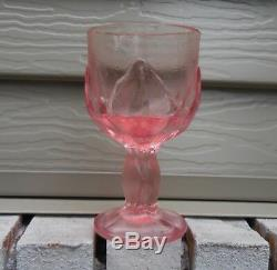 Vintage Set 12 Pink Viking Water Wine Goblet Flower Lotus Glass Shabby Chic