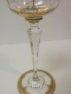 Vintage Set/6 French St. Louis Crystal Wine Goblets, 24 K Gold Encrusted