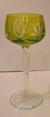 Vintage Set of 6 Bohemian Crystal Cut to Clear Wine Goblet Stem Glass 7.5 Inch