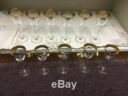 Vintage Tiffin Rambler Rose After Dinner Wine Goblets with gold rim set of 11
